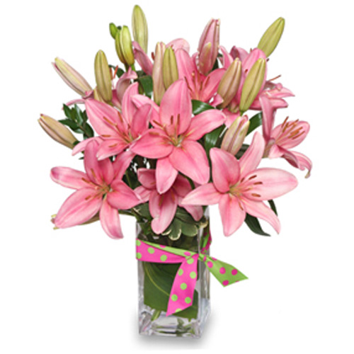 Any day becomes a special one with this brilliant presentation of pink lilies.<br/><br/>