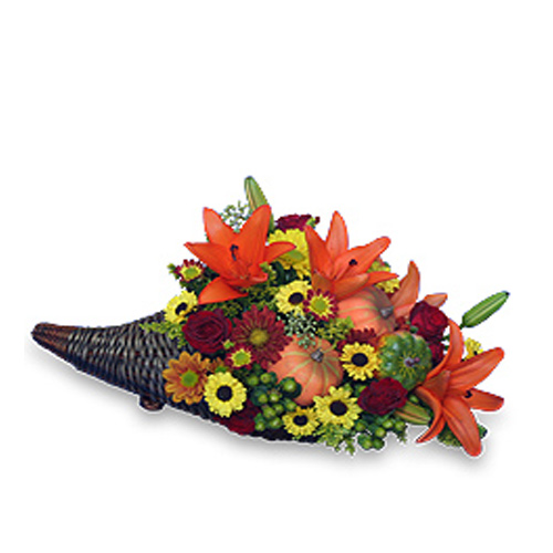 Design contains burgundy spray roses, orange Asiatic lilies, Black-eyed Susan daisy poms, burgundy daisy poms, bronze daisy poms, green hypericum, soliago, artificial miniature gourds, seeded eucalyptus, & huckleberry in a wicker cornucopia basket.<br/><br/>