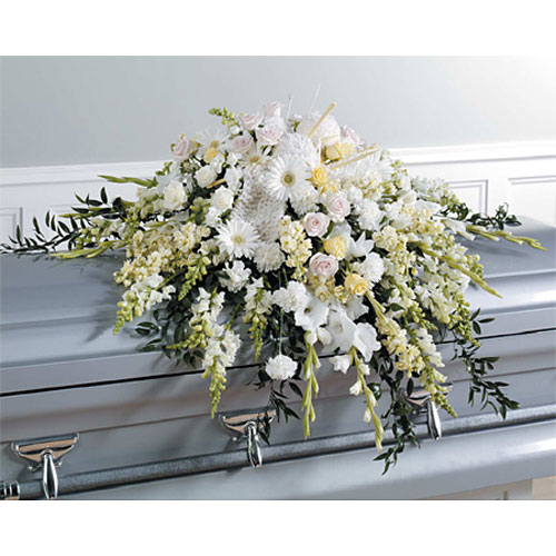 White Casket Spray with Accents