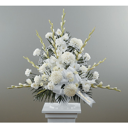 Traditional Funeral Spray with Gladiolus & Football Pompons
