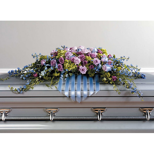 Delphinium and Rose Casket Spray