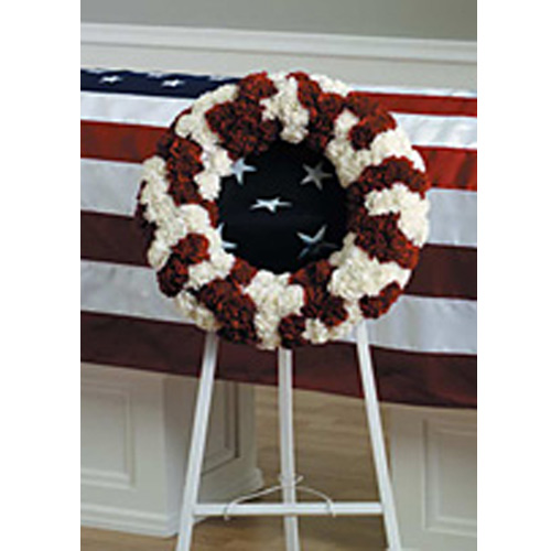 Red and White Patriotic Wreath