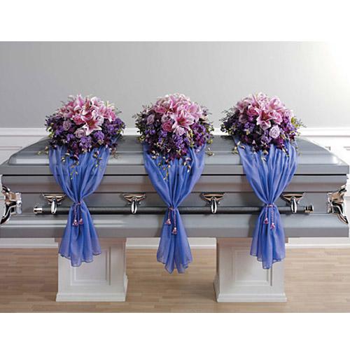 Wylie flower and gift casket spray with fabric drape same day product mightylinksfo