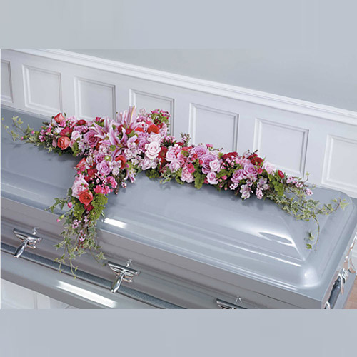 Wylie flower and gift pink and magenta cross casket spray same day product mightylinksfo