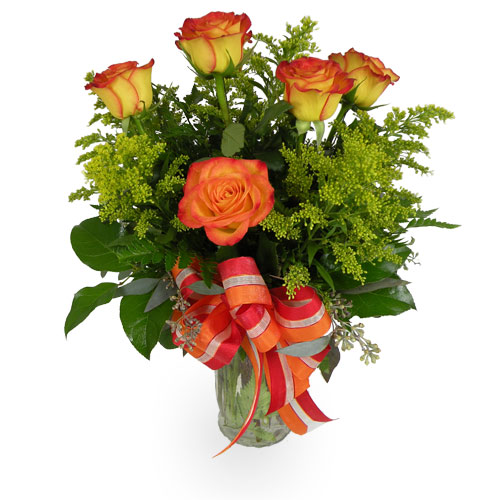 The bright yellow petals of bi-colored Circus roses are kissed with red at the edges, making for an eye-catching color combination that makes this Circus Celebration bouquet truly radiant.<br/><br/>