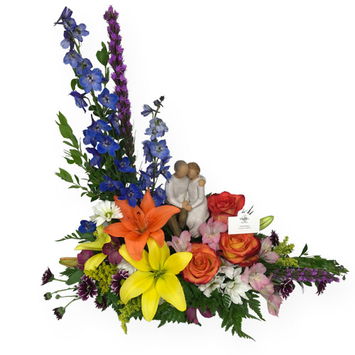 A Wylie Flower Shop exclusive. This unique designer piece is combined with a Willow Tree Angel &quot;Anniversary Angel&quot;. We recommend this arrangement for occasions where you want to truly express your feelings of love.<br/><br/>