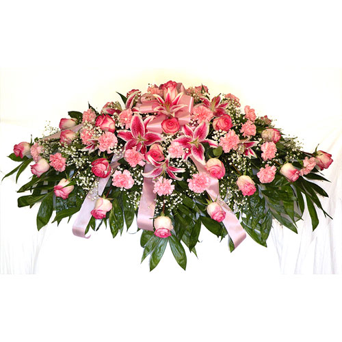 All Shades Of Pink Casket Spray