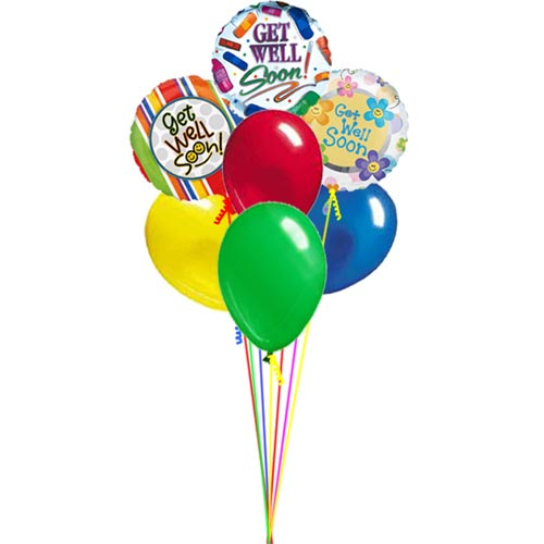 Send your Get Well wishes with this bouquet of balloons. Bouquet will contain 3 mylar balloons with Get Well wishes along with 4 latex balloons of various colors.<br/><br/>