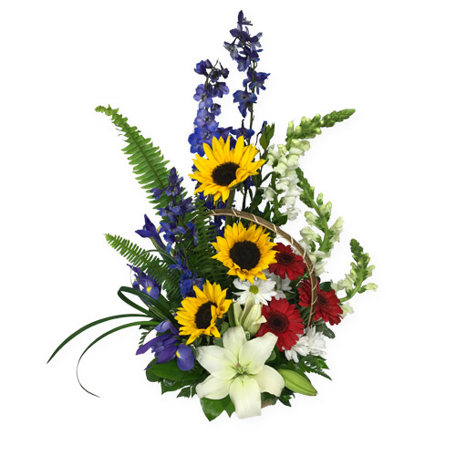 A Wylie Flower Shop exclusive design. Send a whole lot of sunshine with this tropical basket arrangement.<br/><br/>
