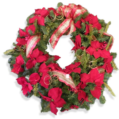 Pleasant Poinsettia Wreath
