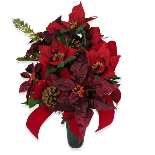 Wylie flower and gift red silk poinsettia cemetery vase same day product code wfs0426 mightylinksfo